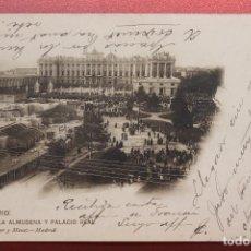 Cartoline: POSTAL MADRID, LA ALMUDENA Y PALACIO REAL, HAUSER Y MENET. Lote 287245028