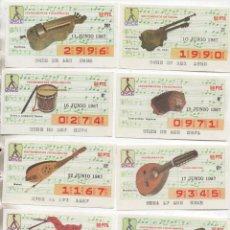Postales: LOTE DE 69 DECIMOS DE LA ONCE-SERIE COMPLETA-INSTRUMENTOS MUSICALES--MUSICA-VER MAS FOTO. Lote 289258673