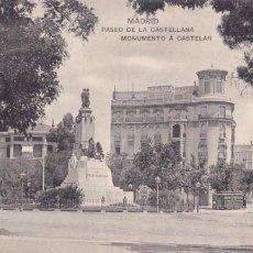 Postales: MADRID, PASEO CASTELLANA MONUMENTO A CASTELAR. ED. HAUSER Y MENET. SIN CIRCULAR. Lote 292590693