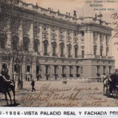 Postales: MADRID.- PALACIO REAL,SIN DIVIDIR,CIRCULADA 1906, EDC, HAUSER Y MENET, JMOLINA1946. Lote 294145133