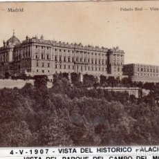 Postales: MADRID.- PALACIO REAL,SIN DIVIDIR,CIRCULADA 1907, EDC, HAUSER Y MENET, JMOLINA1946. Lote 294145363