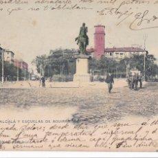 Postales: MADRID, CALLE ALCALÁ ESCUELAS AGUIRRE. ED. HAUSER Y MENET. REVERSO SIN DIVIDIR. CIRCULADA EN 1903. Lote 294439543