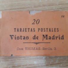 Postales: ANTIGUO ÁLBUM DE 20 POSTALES DE MADRID DE THOMAS. Lote 296635738