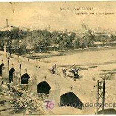 Postales: VALENCIA, PUENTE DEL MAR Y VISTA GENERAL, P13559. Lote 14824522