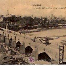 Postales: VALENCIA. PUENTE DEL MAR Y VISTA GENERAL.. Lote 11665116