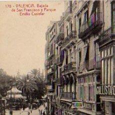 Postales: VALENCIA. BAJADA DE SAN FRANCISCO Y PARQUE EMILIO CASTELAR. (THOMAS). . Lote 6218244