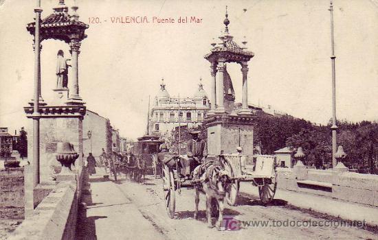 VALENCIA: PUENTE DEL MAR. FOTOTIPIA THOMAS. SIN CIRCULAR. TEMATICA: TRANVIAS. CARROS. PRECIOSA RARA (Postales - España - Comunidad Valenciana Antigua (hasta 1939))