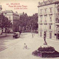 Postales: VALENCIA: PLAZA DEL PINTOR PINAZO Y CALLE DE COLON. FOTOTIPIA THOMAS. SIN CIRCULAR. TRANVIAS. . Lote 15422122