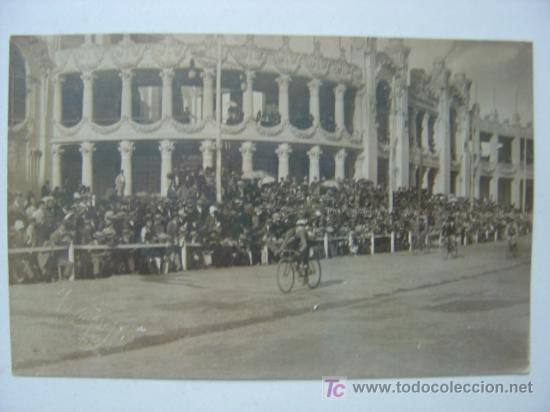 VALENCIA - EXPOSICION REGIONAL VALENCIANA AÑO 1909 - POSTAL FOTOGRAFICA - CARRERA CICLISTA (Postales - España - Comunidad Valenciana Antigua (hasta 1939))