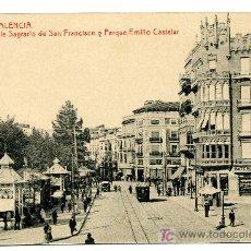 Postales: VALENCIA - C/ SAGRARIO DE SAN FCO. Y P. E. CASTELAR- 99 FOTOTIPIA THOMAS-BARCELONA (NUEVA SIN USAR). Lote 25194848