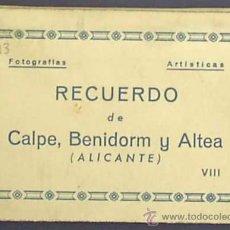 Postales: RECUERDO DE CALPE, BENIDORM Y ALTEA. EDICIONES ARRIBAS. APROXIMADAMENTE 1940/50.. Lote 21646522