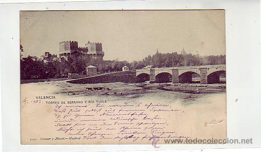 VALENCIA: TORRES DE SERRANO Y RIO TURIA. HAUSER Y MENET 1022 CIRCULADA A COBLENZA. ALFONSO XIII CADE (Postales - España - Comunidad Valenciana Antigua (hasta 1939))
