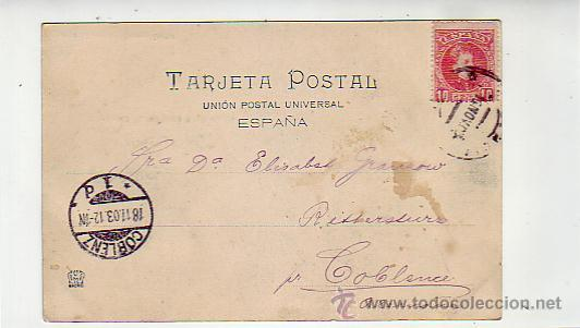 Postales: VALENCIA: TORRES DE SERRANO Y RIO TURIA. HAUSER Y MENET 1022 CIRCULADA A COBLENZA. ALFONSO XIII CADE - Foto 2 - 26222869
