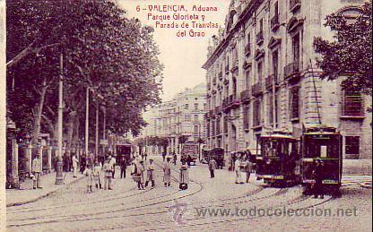 VALENCIA: ADUANA, PARQUE GLORIETA Y PARADA DE TRANVIAS DEL GRAO. CIRCULADA 1922. SIN FRANQUEO.THOMAS (Postales - España - Comunidad Valenciana Antigua (hasta 1939))