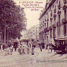 Postales: VALENCIA: ADUANA, PARQUE GLORIETA Y PARADA DE TRANVIAS DEL GRAO. CIRCULADA 1922. SIN FRANQUEO.THOMAS. Lote 26243863