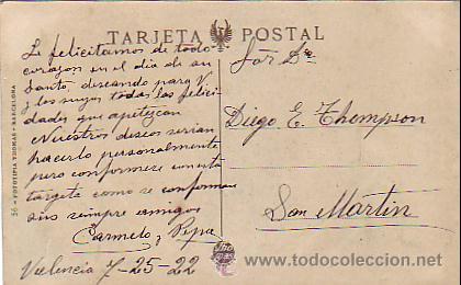 Postales: VALENCIA: ADUANA, PARQUE GLORIETA Y PARADA DE TRANVIAS DEL GRAO. CIRCULADA 1922. SIN FRANQUEO.THOMAS - Foto 2 - 26243863