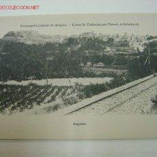 Postales: SEGORBE (CASTELLON) - FERROCARRIL CENTRAL DE ARAGON - LINEA DE VALENCIA, POR TERUEL A CALATAYUD. Lote 15513484