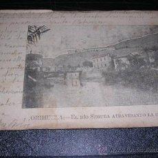 Postales: ORIHUELA - EL RIO SEGURA ATRAVESANDO LA CIUDAD - PUBLICIDAD ANTIDIABETICO MIQUEZ ( ALICANTE ). Lote 13883065