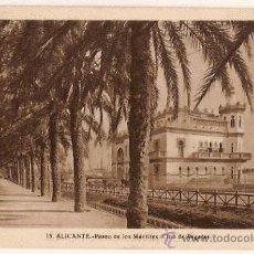 Postales: ANTIGUA POSTAL 15 ALICANTE PASEO DE LOS MARTIRES CLUB DE REGATAS FOTO L ROISIN. Lote 11481991