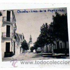 Postales: VALENCIA. CHESTE. FOTO ORIGINAL. MEDIDAS: 7,50 X 10 CM. AVENIDA DE LA REPUBLICA.. Lote 11863243