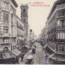 Postales: VALENCIA.Nº13 FOTOTIPIA THOMAS.CALLE DE SAN VICENTE. CON TRANVIA. Lote 24023866