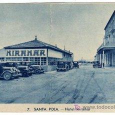 Postales: MAGNIFICA POSTAL - SANTA POLA (ALICANTE) - VISTA DEL HOTEL MIRAMAR Y COCHES DE LA EPOCA . Lote 18602221