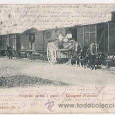 Postales: VALENCIA CARCAGENTE CARGANDO ( TREN ) NARANJA A GRANEL. FDEZ ALMELA REVERSO SIN DIVIDIR. CIRCULADA. Lote 23270430
