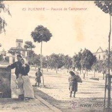 Postales: ALICANTE.- PASEOS DE CAMPOAMOR. Lote 19821680