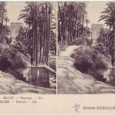 Postales: ELCHE (ALICANTE): PAISAJE. LEVI FILS ET CIE, LL. POSTAL ESTEREOSCÓPICA. NO CIRCULADA (AÑOS 10). Lote 25114865