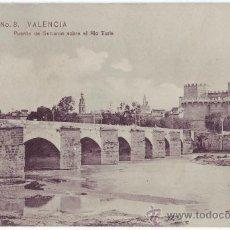 Postales: VALENCIA: PUENTE DE SERRANOS SOBRE EL RÍO TURIA. COLECCIÓN E.B.P. NO CIRCULADA (AÑOS 10). Lote 24804146