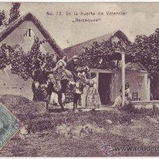 Postales: VALENCIA: EN LA HUERTA DE VALENCIA: BARRAQUES. COLECCIÓN E. BORT. CIRCULADA (1907). Lote 24804160