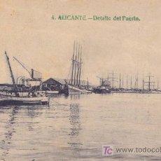 Postales: ALICANTE. DETALLE DEL PUERTO. Lote 20552285