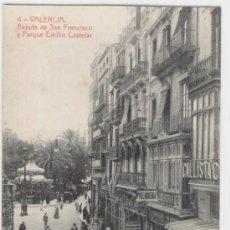 Postales: VALENCIA. BAJADA DE SAN FRANCISCO Y PARQUE EMILIO CASTELAR. AÑOS 1910. FOTOTIPIA THOMAS.. Lote 27283768