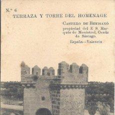 Postales: PS0251 VALENCIA 'CASTILLO DE BENISANÓ - TERRAZA Y TORRE DEL HOMENAJE'. NÚM. 6. SIN CIRCULAR. Lote 24892003