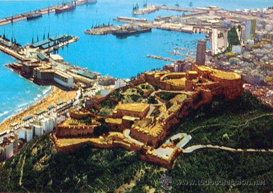 ALICANTE, POSTAL CASTILLO DE SANTA BARBARA Y PUERTO 1973 (Postales - España - Comunidad Valenciana Moderna (desde 1940))
