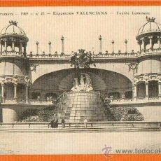 Postales: VALENCIA - EXPOSICION VALENCIANA - FUENTE LUMINOSA - EDICION L. CRUMIÈRE Nº 43 - RARA AÑO 1909. Lote 26354081