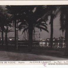 Postales: ALICANTE DE NOCHE: PUERTO EN 1956: BONITA TARJETA POSTAL NUM 102 L. ROISIN CIRCULADA A MADRID.. Lote 27431912
