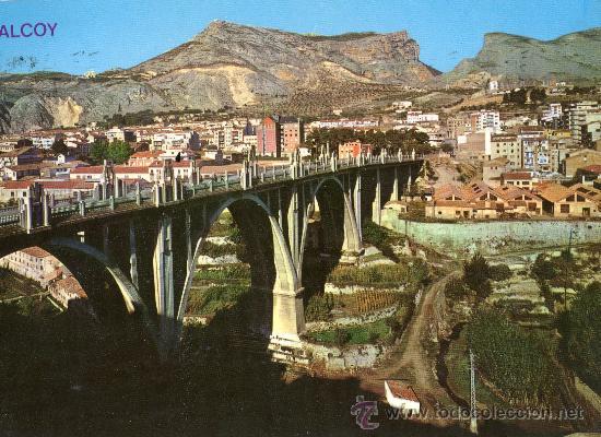 ALCOY 2014 PUENTE DE SAN JORGE Y VISTA PARCIAL ESCRITA CIRCULADA SELLO EDICIONES ARRIBAS (Postales - España - Comunidad Valenciana Moderna (desde 1940))