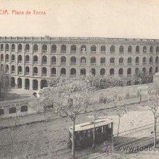 Postales: VALENCIA.PLAZA DE TOROS CON TRANVIA.NO CIRCULADA.FOTOTIPIA THOMAS.. Lote 27577703
