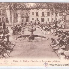 Postales: JATIVA - PLAZA DE EMILIO CASTELAR Y LAVADERO PUBLICO - (6695). Lote 27613990