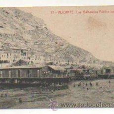 Postales: ALICANTE. LOS BALNEARIOS. PÚBLICO BAÑÁNDOSE. (ED. THOMAS, Nº 77). Lote 27661595
