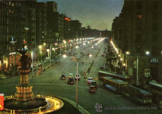 VALENCIA Nº 16 NOCTURNA PLAZA ESPAÑA Y AVENIDA INDEPENDENCIA C. JOSAN ESCRITA CIRCULADA SELLO (Postales - España - Comunidad Valenciana Moderna (desde 1940))