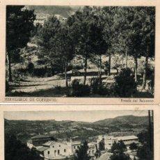 Postales: 3 POSTALES HERVIDEROS DE COFRENTES,PINADA DEL BALNEARIO-HOTEL Y CASINO-Y MANANTIAL Y CAPILLA. Lote 28417997