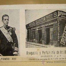 Postales: ANTIGUA TARJETA POSTAL, PUBLICITARIA, ALFONSO XIII, DROGUERIA, PERFUMERIA DE LAS BARCAS, VALENCIA. Lote 29756029