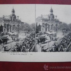 Postales: VALENCIA - (POSTAL ESTEREOSCOPICA) - L. LEVI - LE MARCHÉ AUX ORANGES. Lote 30413397