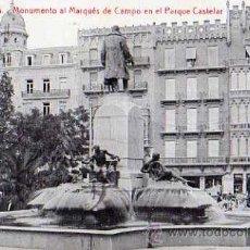 Postales: VALENCIA Nº 15 MONUMENTO AL MARQUÉS DE CAMPO EN EL PARQUE CASTELAR ESCRITA CIRCULADA SELLO. Lote 30572952