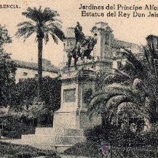 Postales: VALENCIA, JARDINES DEL PRÍNCIPE ALFONSO, ESTATUA DEL REY DON JAIME, GRAFOS MADRID, 1924. Lote 31740071