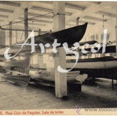 Postales: BONITA Y RARA POSTAL - ALICANTE - REAL CLUB DE REGATAS - SALA DE BOTES. Lote 32142303