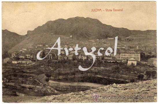 BONITA Y RARA POSTAL - JIJONA (ALICANTE) - VISTA GENERAL DE LA POBLACION (Postales - España - Comunidad Valenciana Antigua (hasta 1939))