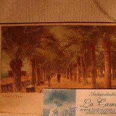 Postales: RARA Y EXCELENTE TARJETA POSTAL ORIGINAL COLOREADA DE P.P.S.XX ALICANTE, PASEO, DE 1900/1910. Lote 32667129